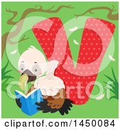 Clipart Graphic Of A Cute Vulture With The Letter V Royalty Free Vector Illustration by BNP Design Studio