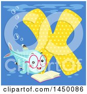 Clipart Graphic Of A Cute Xray Fish With The Letter X Royalty Free Vector Illustration by BNP Design Studio