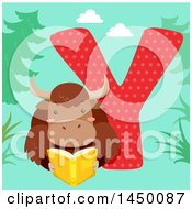 Clipart Graphic Of A Cute Yak With The Letter Y Royalty Free Vector Illustration
