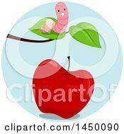 Poster, Art Print Of Happy Preposition Worm Above An Apple