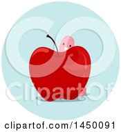 Clipart Graphic Of A Happy Preposition Worm Behind An Apple Royalty Free Vector Illustration