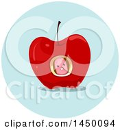 Clipart Graphic Of A Happy Preposition Worm In An Apple Royalty Free Vector Illustration by BNP Design Studio