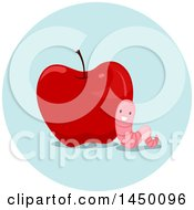 Clipart Graphic Of A Happy Preposition Worm Near An Apple Royalty Free Vector Illustration