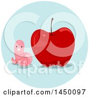 Clipart Graphic Of A Happy Preposition Worm Next To An Apple Royalty Free Vector Illustration