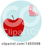 Clipart Graphic Of A Happy Preposition Worm Far From An Apple Royalty Free Vector Illustration