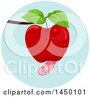 Clipart Graphic Of A Happy Preposition Worm Under An Apple Royalty Free Vector Illustration