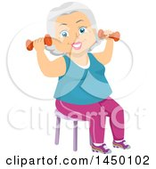 Clipart Graphic Of A Happy White Haired Senior White Woman Sitting In A Chair And Working Out With Dumbbells Royalty Free Vector Illustration
