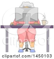 Clipart Graphic Of A Happy White Haired Senior White Woman Sitting Behind A Computer At A Desk Royalty Free Vector Illustration by BNP Design Studio