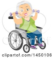 Clipart Graphic Of A Happy White Haired Senior White Woman Sitting In A Wheelchair And Working Out With Dumbbells Royalty Free Vector Illustration