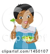 Clipart Graphic Of A Happy Black Senior Woman With A Salad Royalty Free Vector Illustration by BNP Design Studio