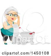 Clipart Graphic Of A Happy White Haired Senior White Woman With A Shopping Cart And Long List Royalty Free Vector Illustration by BNP Design Studio