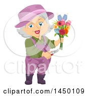 Clipart Graphic Of A Happy White Haired Senior White Woman Cutting A Floral Bouquet Royalty Free Vector Illustration