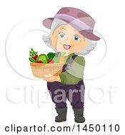 Clipart Graphic Of A Happy White Haired Senior White Woman Carrying A Harvest Garden Basket Royalty Free Vector Illustration