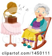 Clipart Graphic Of A Happy White Haired Senior White Woman Sitting In A Rocking Chair And Listenting To A Gramophone Royalty Free Vector Illustration