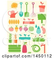 Clipart Graphic Of Stencil Styled Gardening Icons Royalty Free Vector Illustration