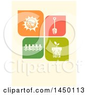 Clipart Graphic Of A Shovel A Wooden Fence A Potted Plant And The Sun Design Royalty Free Vector Illustration by BNP Design Studio