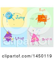 Clipart Graphic Of Shape Monsters Demonstrating Jump Run Leap And Dance Action Words Royalty Free Vector Illustration by BNP Design Studio