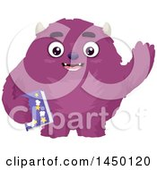 Poster, Art Print Of Furry Purple Monster Waving And Holding A Bedtime Story Book