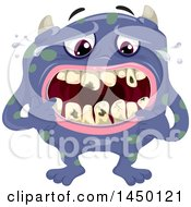 Poster, Art Print Of Spotted Monster Worrying About Rotting Teeth