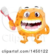 Clipart Graphic Of A Spotted Monster Holding A Toothbrush And Showing His Clean Teeth Royalty Free Vector Illustration