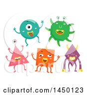 Clipart Graphic Of Happy Shape Monsters Royalty Free Vector Illustration by BNP Design Studio