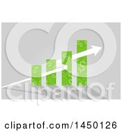 Poster, Art Print Of Green Dollar Sign Patterned Bar Graph With A Growth Arrow On Gray