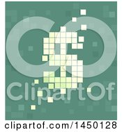 Clipart Graphic Of A Pixel Dollar Sign Currency Symbol On Green Royalty Free Vector Illustration by BNP Design Studio