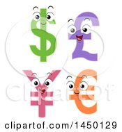 Clipart Graphic Of Pound Dollar Yen And Euro Currency Sybmols Mascots Royalty Free Vector Illustration by BNP Design Studio