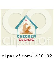 Clipart Graphic Of A Hen In A Coop Over Chicken Clinic Text Royalty Free Vector Illustration
