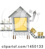 Clipart Graphic Of A Chicken Factory With Hens Being Transported On A Conveyor Belt Royalty Free Vector Illustration