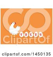 Chicken Hen With Eggs Spelling Fresh On Orange