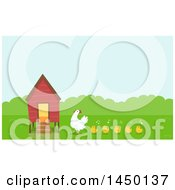 Clipart Graphic Of A Chicken Coop With A Hen And Chicks Royalty Free Vector Illustration