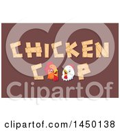 Clipart Graphic Of A Chicken Coop Text Design With A Rooster And Hen On Brown Royalty Free Vector Illustration