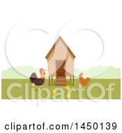 Clipart Graphic Of A Chicken Coop With A Rooster Hen And Chicks Royalty Free Vector Illustration