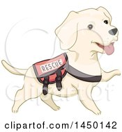 Clipart Graphic Of A Cute Labrador Rescue Dog Wearing A Vest Royalty Free Vector Illustration