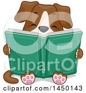 Clipart Graphic Of A Cute Dog Sitting And Reading A Book Royalty Free Vector Illustration