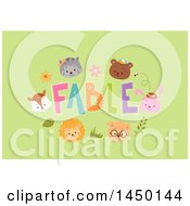 Clipart Graphic Of A Frame Of Animal Faces Around Fables Text On Green Royalty Free Vector Illustration