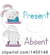 Clipart Graphic Of A Rabbit Student Shown Present And Absent In Class Royalty Free Vector Illustration by BNP Design Studio