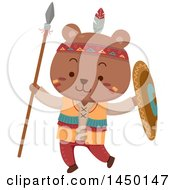Clipart Graphic Of A Cute Native American Indian Bear Holding A Spear And Shield Royalty Free Vector Illustration by BNP Design Studio