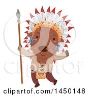 Clipart Graphic Of A Cute Native American Indian Bison Holding A Spear Royalty Free Vector Illustration