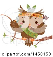 Clipart Graphic Of A Cute Native American Indian Owl Holding A Bow On A Branch Royalty Free Vector Illustration