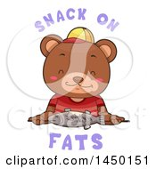 Cute Bear Eating A Fish With Snack On Fats Text