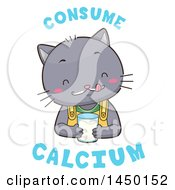 Clipart Graphic Of A Cute Cat Drinking Milk With Consume Calcium Text Royalty Free Vector Illustration