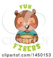 Clipart Graphic Of A Cute Chipmunk Eating Chickpeas With Fun Fibers Text Royalty Free Vector Illustration by BNP Design Studio