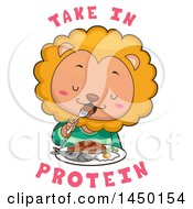 Clipart Graphic Of A Cute Lion Eating A Meal With Take In Protein Text Royalty Free Vector Illustration by BNP Design Studio