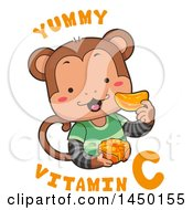Clipart Graphic Of A Cute Monkey Eating An Orange With Yummy Vitamin C Text Royalty Free Vector Illustration