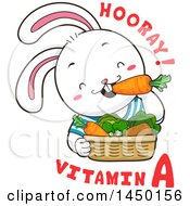 Clipart Graphic Of A Cute Rabbit Eating Produce With Hooray Vitamin A Text Royalty Free Vector Illustration by BNP Design Studio
