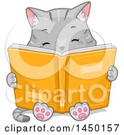 Clipart Graphic Of A Cute Gray Tabby Cat Reading A Book Royalty Free Vector Illustration