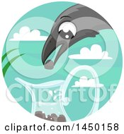 Clipart Graphic Of A Fable Scene Of The Crow And The Pitcher Royalty Free Vector Illustration