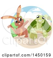 Clipart Graphic Of A Fable Scene Of The Tortoise And The Hare Royalty Free Vector Illustration